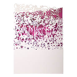 View Fairytale wedding invitations and more laser cut wedding stationery in Chartula Fairytale White and Fuchsia.