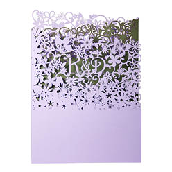 View Fairytale wedding invitations and more laser cut wedding stationery in Chartula Fairytale Lavender and Sage.