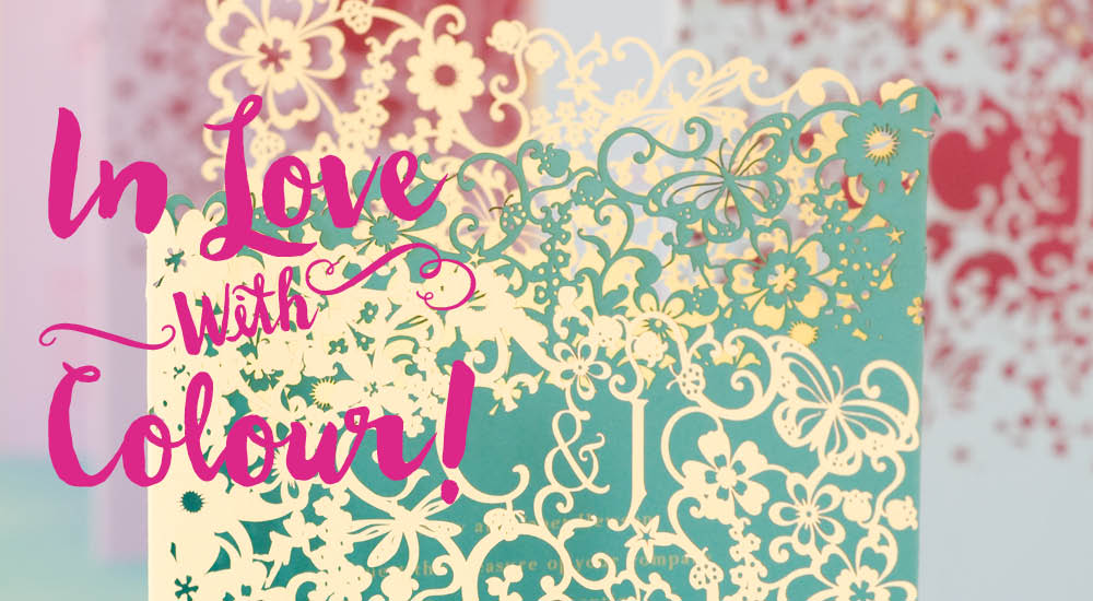 View laser cut wedding invitations and information for Chartula Beau Jardin colourful.