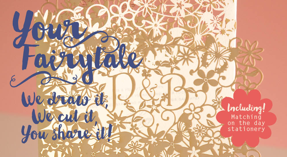 View laser cut wedding invitations and stationery in Chartula Fairytale Natural Pistachio.