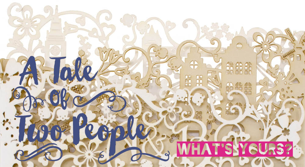 View bespoke laser cut wedding invitations like Chartula Little City Tales Dutch London invite.