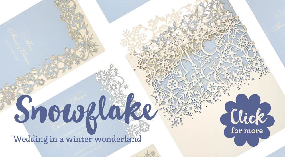 View bespoke laser cut wedding invitations and bespoke wedding stationery for Chartula Snowflake.