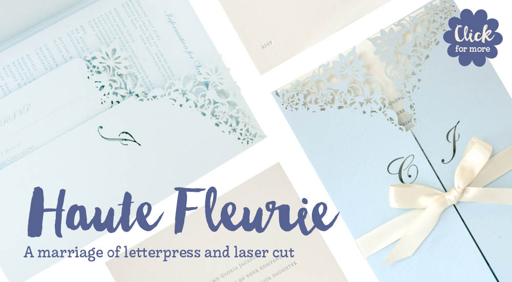 View bespoke wedding invitations and bespoke wedding stationery for Chartula Haute Fleurie Duck Egg with Letterpress.