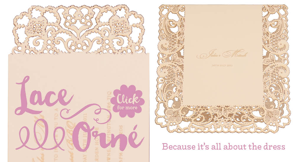 View bespoke wedding invitations and bespoke wedding stationery for Chartula Lace Orné.
