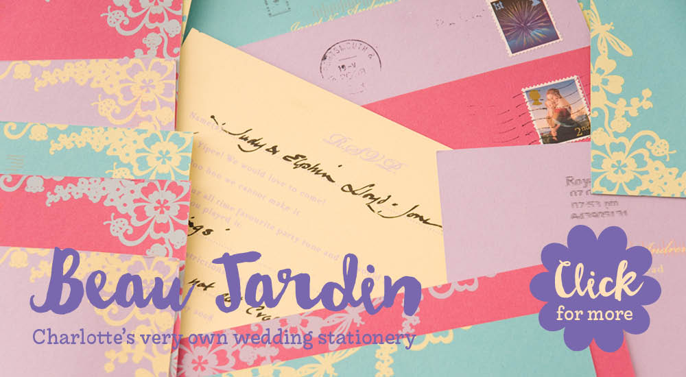 View bespoke wedding invitations and bespoke wedding stationery for Chartula Beau Jardin reply postcards.