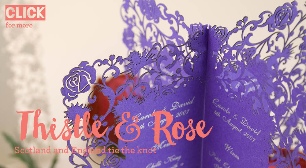 View bespoke wedding invitations and bespoke wedding stationery for Chartula Thistle and Rose laser cut menus.