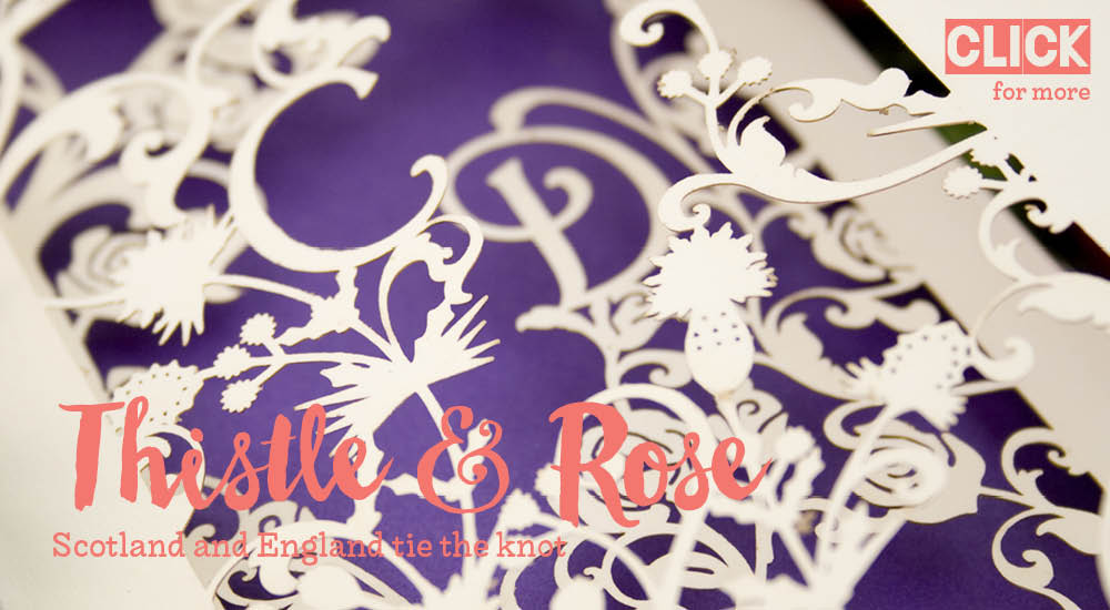 View bespoke wedding invitations and bespoke wedding stationery for Chartula Thistle and Rose.