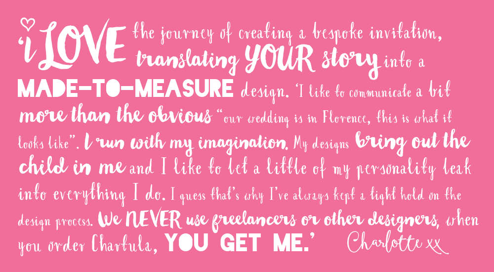 View bespoke wedding stationery quote from Charlotte Hewson.
