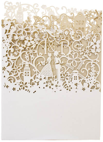 View laser cut wedding invitations, bespoke wedding stationery and information for Chartula Little City Tales.
