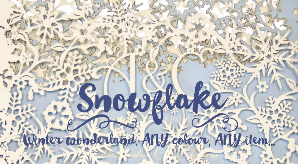Chartula — Snowflake winter wedding invitations. Laser cut.