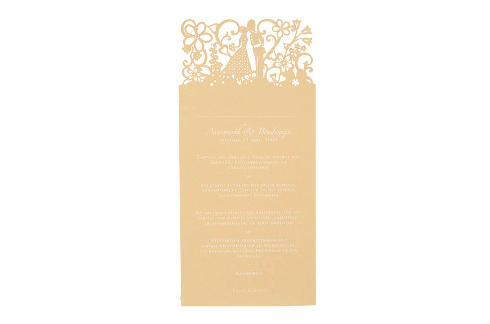 View larger wedding invitations London and Amsterdam matching menus in Chartula Little City Tales.