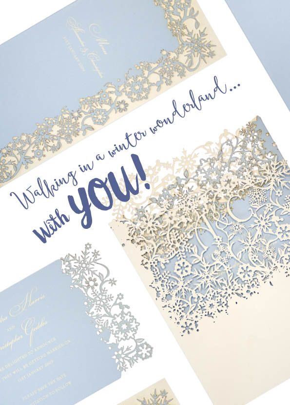 Winter wedding invitations in laser cut Snowflake by www.chartula.co.uk