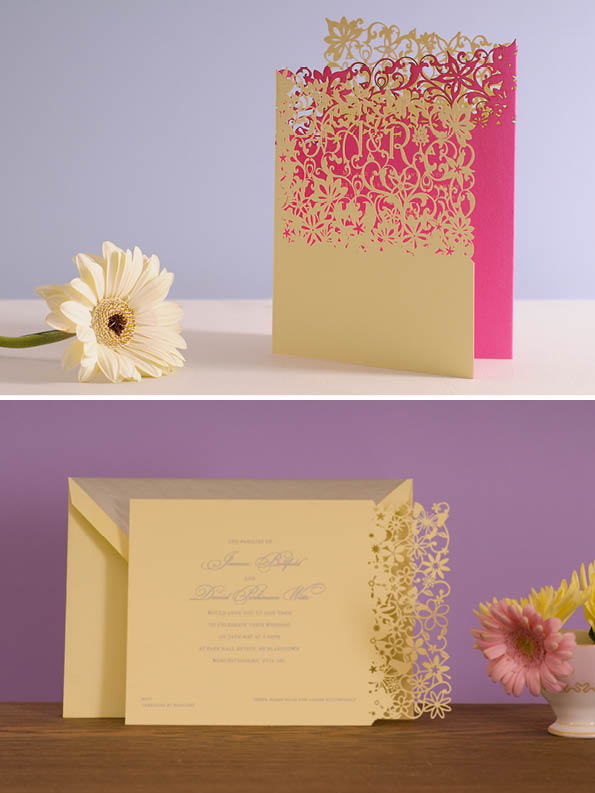 High end wedding invitations by Chartula. From top: Fleurette concertina invitation, Petite Fairytale invitation. Both silk screen printed and laser cut on 350gsm wove card, with matching lined envelopes.