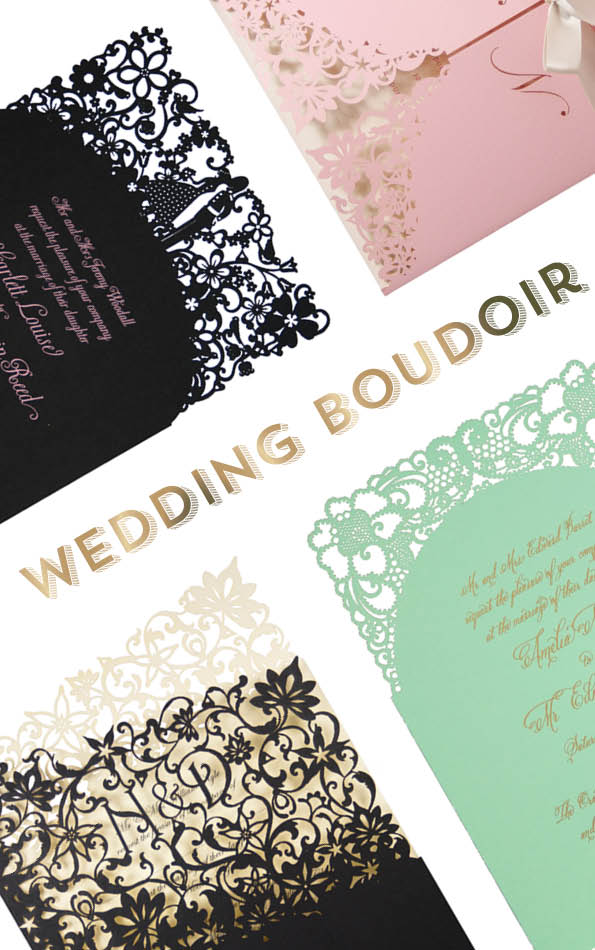 Boudior wedding invitations by Chartula. Clockwise from top left: A Little Romance laser cut invitation in Ebony, Haute Fleurie laser cut Invitation in Candy Pink, A Little Lace laser cut invitation in Mint, Fleurette laser cut invitation in Ebony and Clotted Cream.