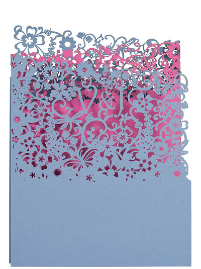 View laser cut wedding invitations like Chartula A Little Romance Navy.