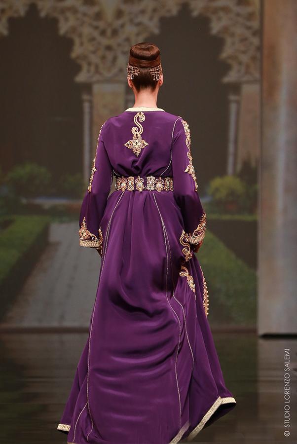 Caftan Haute Couture Fouzia Naciri - Inspiration Pourpre Dorée Dos