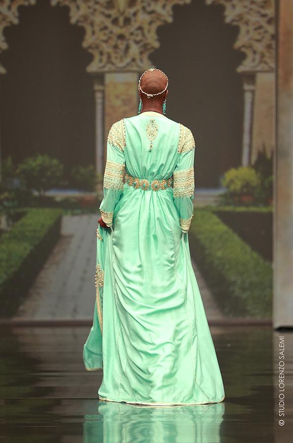 Caftan Haute Couture Fouzia Naciri - Inspiration Vert Dorée Dos