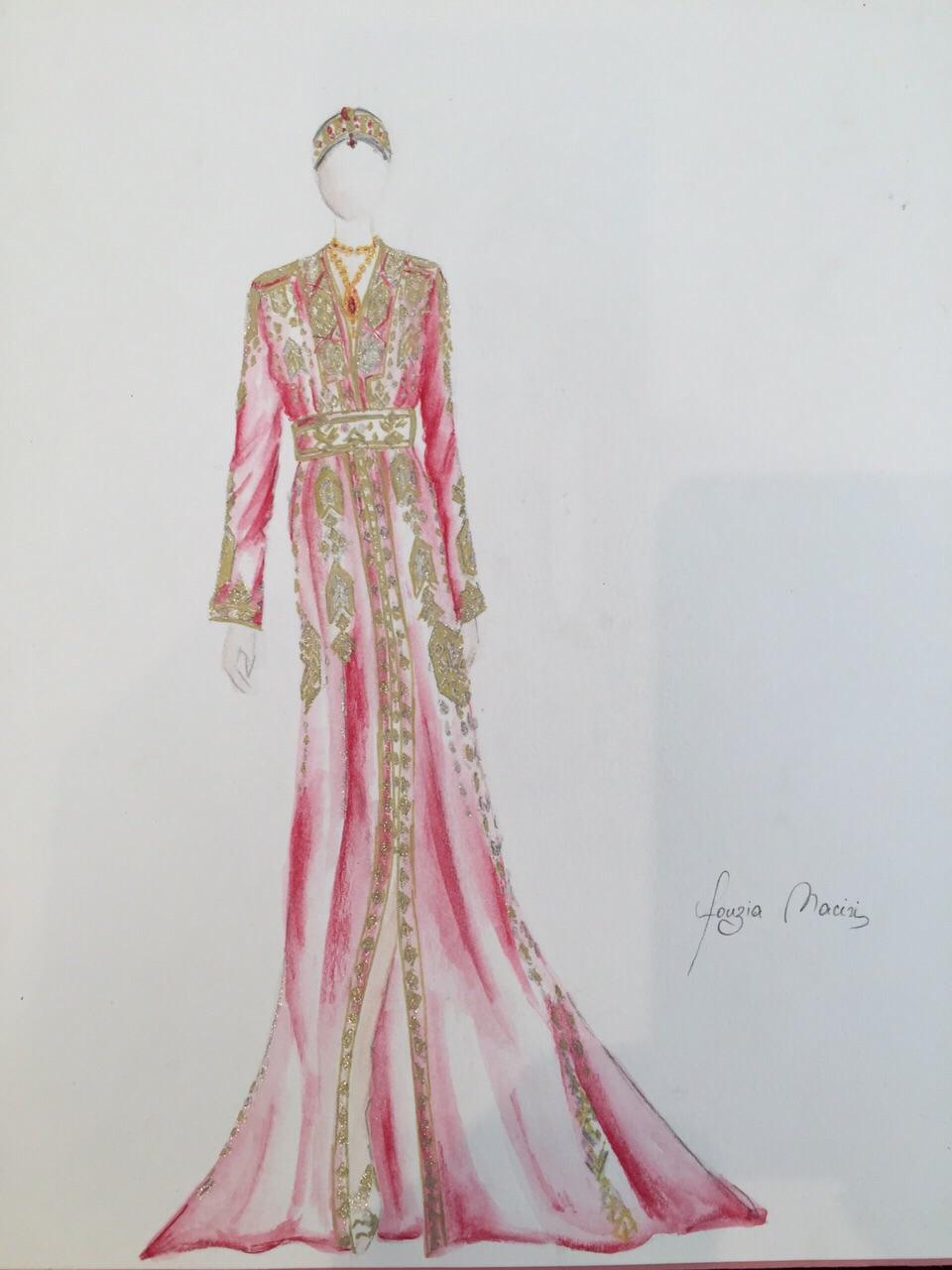 Croquis création Caftan Haute Couture Fouzia Naciri - Inspiration Rose magnificence