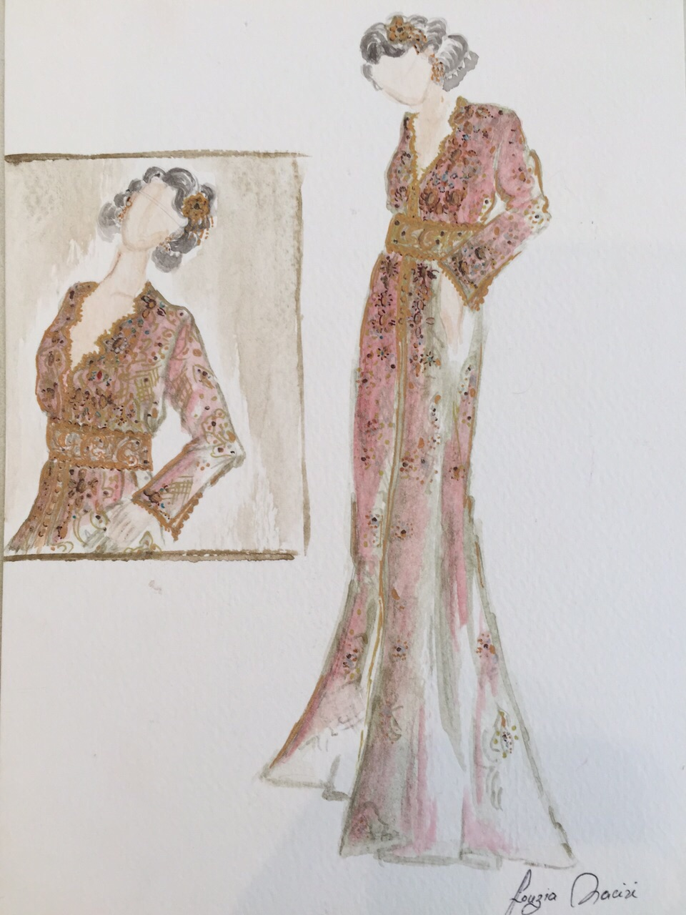 Croquis création Caftan Haute Couture Fouzia Naciri - Inspiration Rose