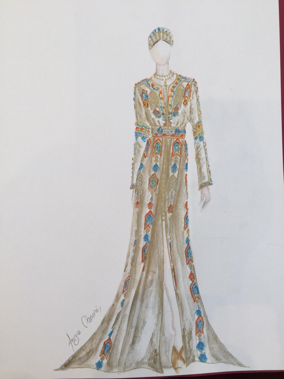 Croquis création Caftan Haute Couture Fouzia Naciri - Inspiration Chatoyante