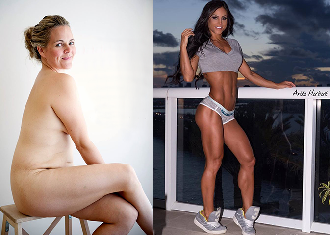 "On the left is Taryn Brumfitt, creator of ""Embrace"", on the right is Anita Herbert, a well known fitness/physique competitor."
