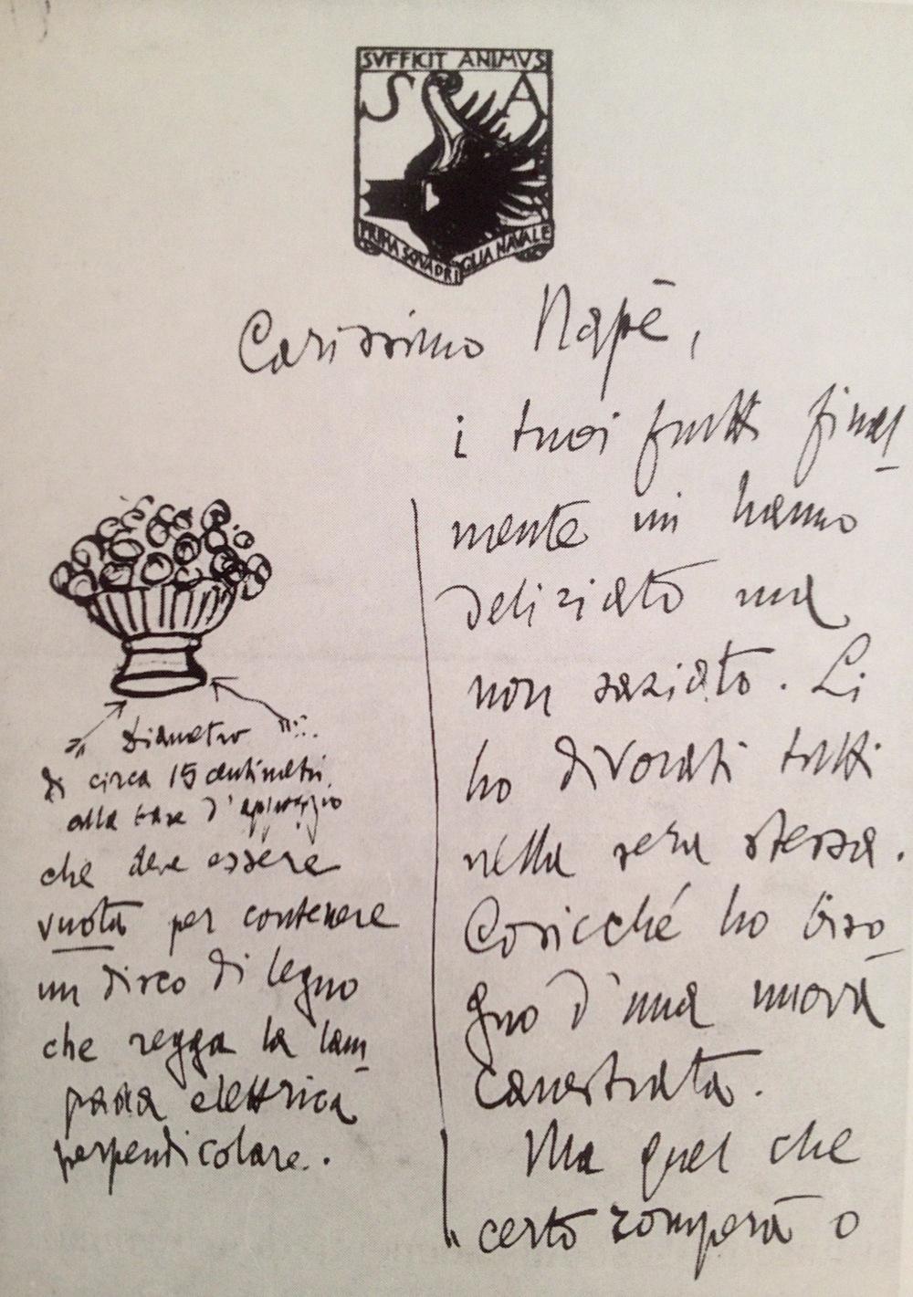 Lettera di Gabriele D'Annuzio, senza data, con l'ordinazione dei canestri vitrei luminosi colmi di frutta.   Fondazione Vittoriale, Archivio Personale, n.31285