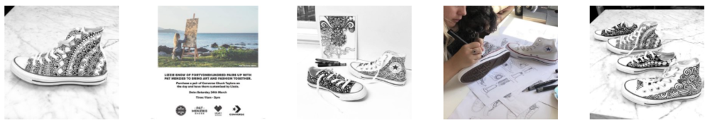 fortyonehundred CONVERSE custom shoes Pat Menzies Heart of the City Auckland Fashion Week New Zealand Artist Lizzie Snow