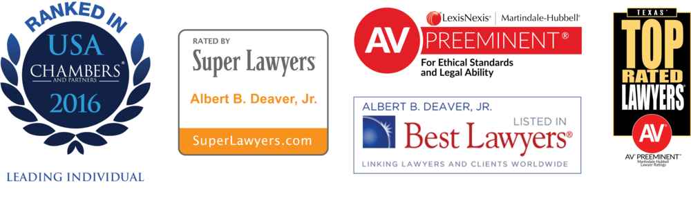 "* ""Super Lawyers®"" is a publication of Thompson Reuters and has included Mr. Deaver each year from 2013 to 2016; ""Best Lawyers®"" is a publication of Woodward White and has included Mr. Deaver each year from 2014 to 2016; ""Texas' Top Rated Lawyers®"" is a publication of ALM Media and The American Lawyer magazine, and has included Mr. Deaver each year from 2012 to 2016."
