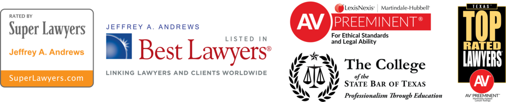 "* ""Super Lawyers"" is a publication of Thompson Reuters and has included Dr. Andrews in 2015 and 2016 in ""Super Lawyers®"" and each year from 2013 to 2015 in ""Super Lawyers® - Rising Star""; ""Best Lawyers®"" is a publication of Woodward White and has included Dr. Andrews in 2015 to 2017; ""Texas' Top Rated Lawyers®"" is a publication of ALM Media and The American Lawyer magazine, and has included Dr. Andrews each year from 2013 to 2016."
