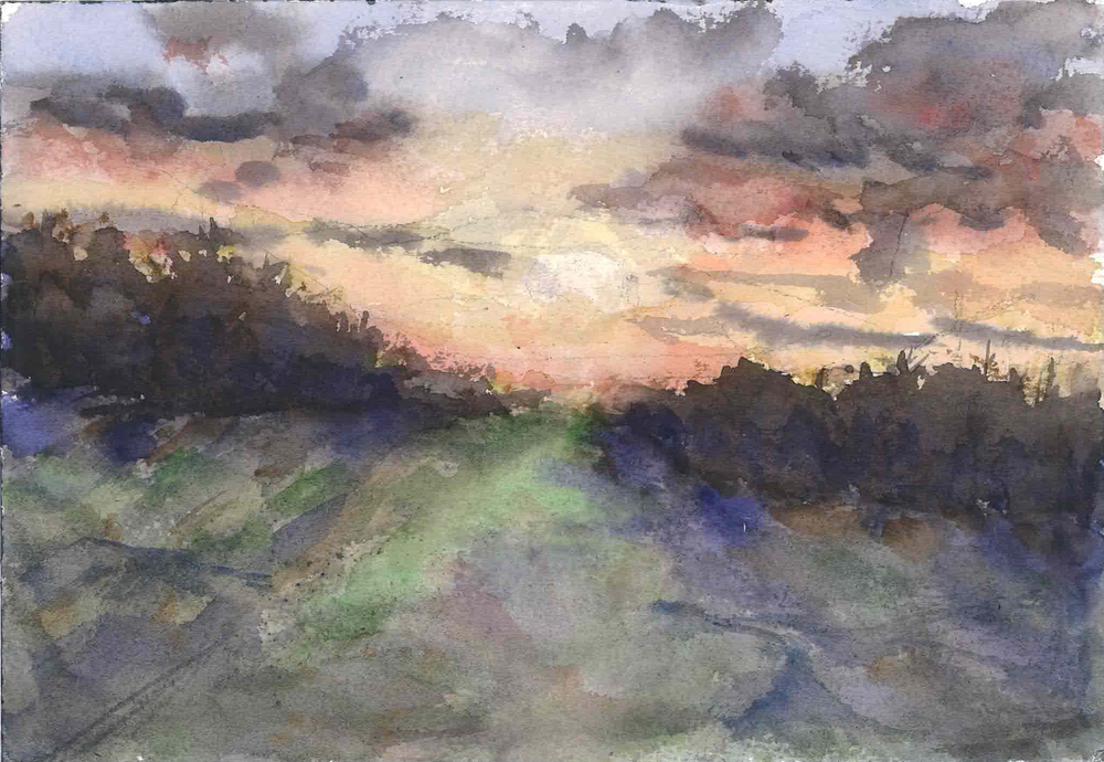Road Side Sunset Travel Sketch