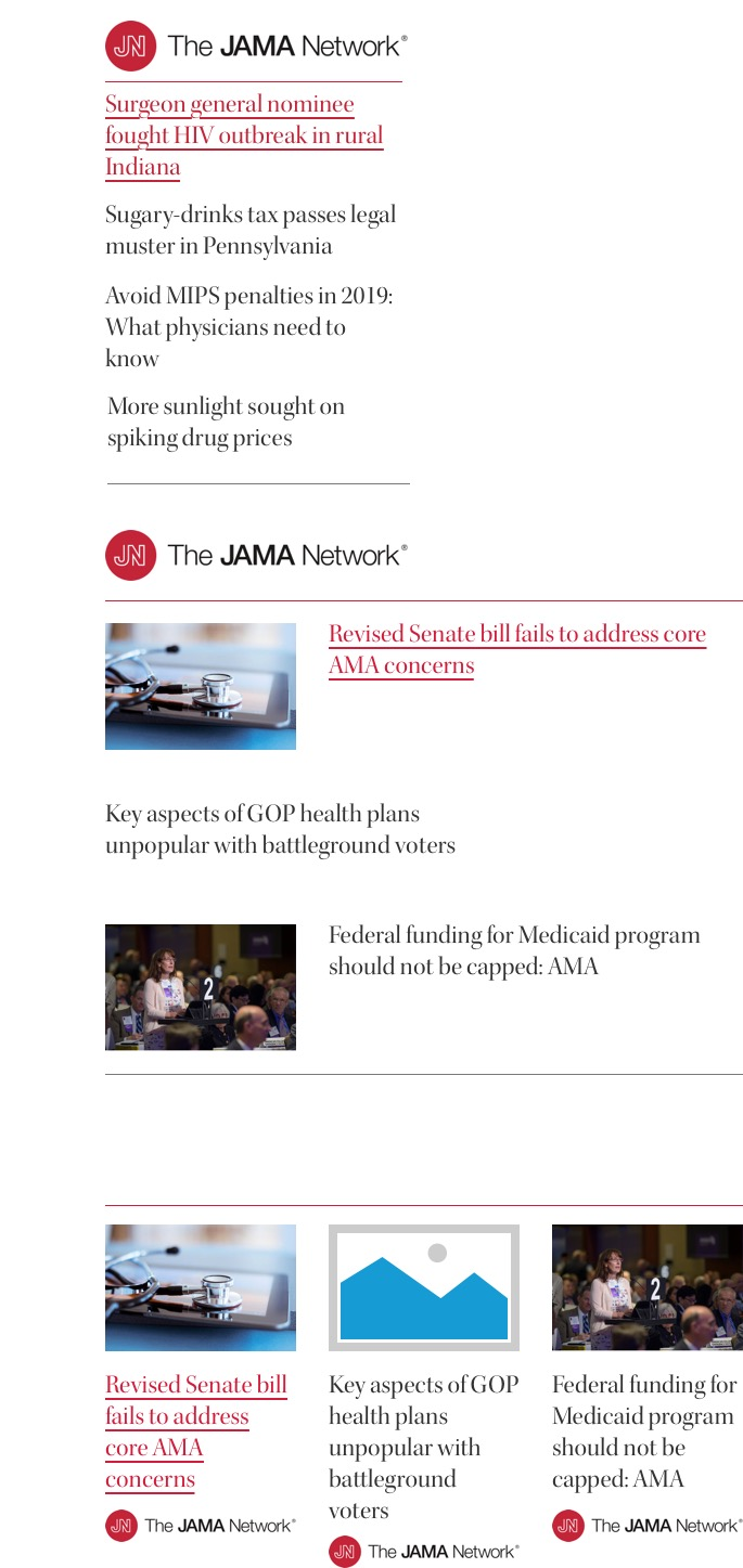 We had a unique situation where we also needed to incorporate news articles and other media from a medical journal that works separately from the AMA but is also a part of the company. I worked with their creative team to design components that used their branding to five them more of a feature any time they appear on the Topic Pages.