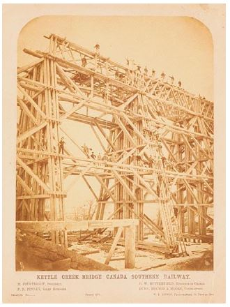 First wooden trestle erected in 1872