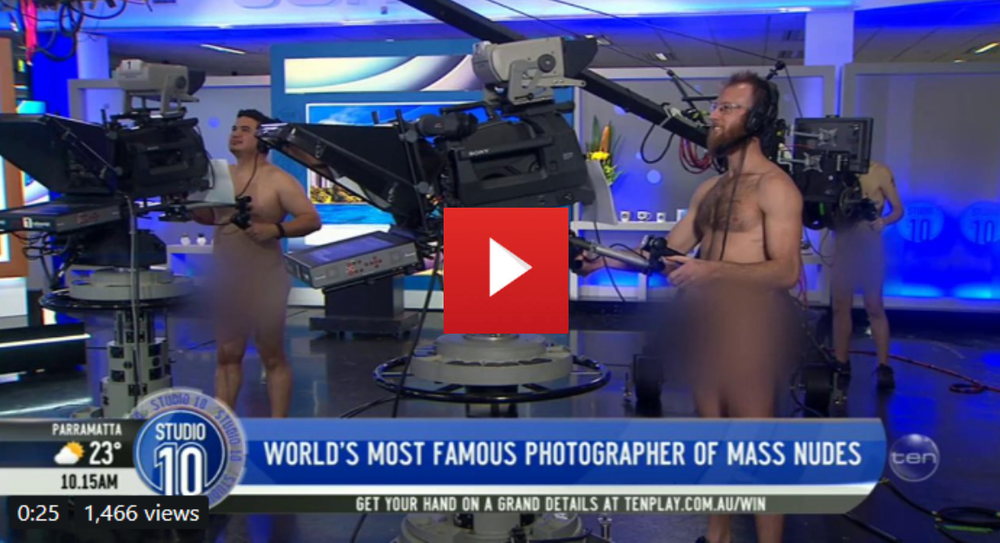 You could say some of the crew were REALLY trying to make a good impression on nude photographer  @ SpencerTunick  ...  # Studio10