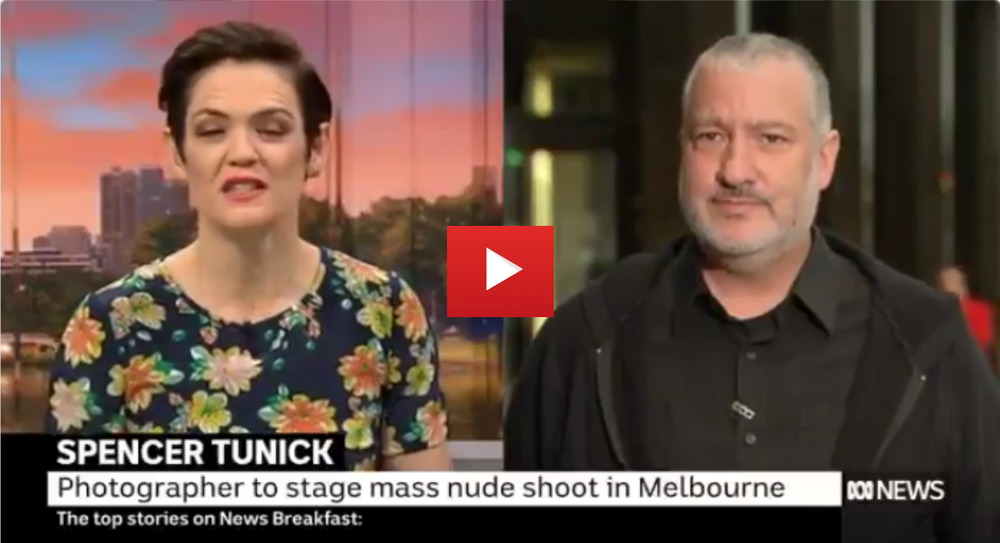 """The people that are coming are just absolutely brave, insane, wonderful people.""  Famed photographer  @ SpencerTunick   reveals how he's going to approach his upcoming nude shoot in Melbourne, and what his favourite location has been"