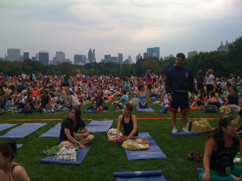 10,000 people on the great lawn practicing yoga and listening to Reggie watts currently.