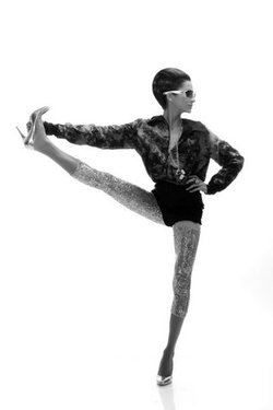 kinda love this.  although she needs to stop sinking into that left hip!     bombayelectric :     Electric Yogi : B/W Series Release