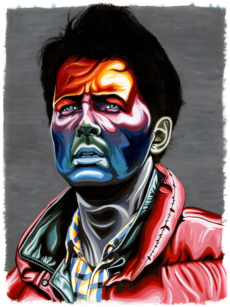 pezzz: Marty Mcfly - Acrylic Ink on 24x 18 in. Rives BFK. BTTF -4- LIFE.