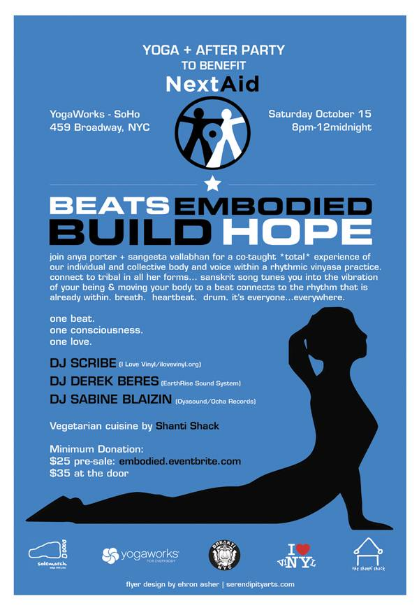 An amazing evening and class co-taught by myself and Sangeeta Vallabhan…  followed by beats and yummies with DJ Scribe and the Shanti Shack.  Other music from Derek Beres from Earthrise Soundsystem and DJ Sabine Blaizin.  Sign up here or click the flyer.