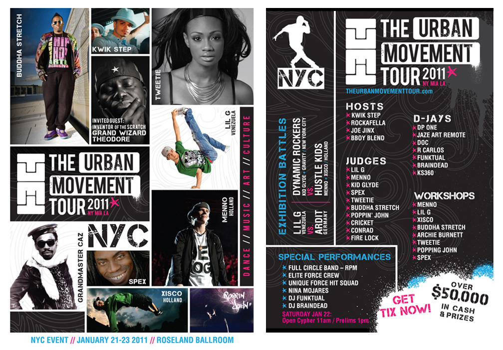 Urban Movement Tour this weekend… study with pioneers, legends and masters of the field. Stay for the battles and cyphers!!!