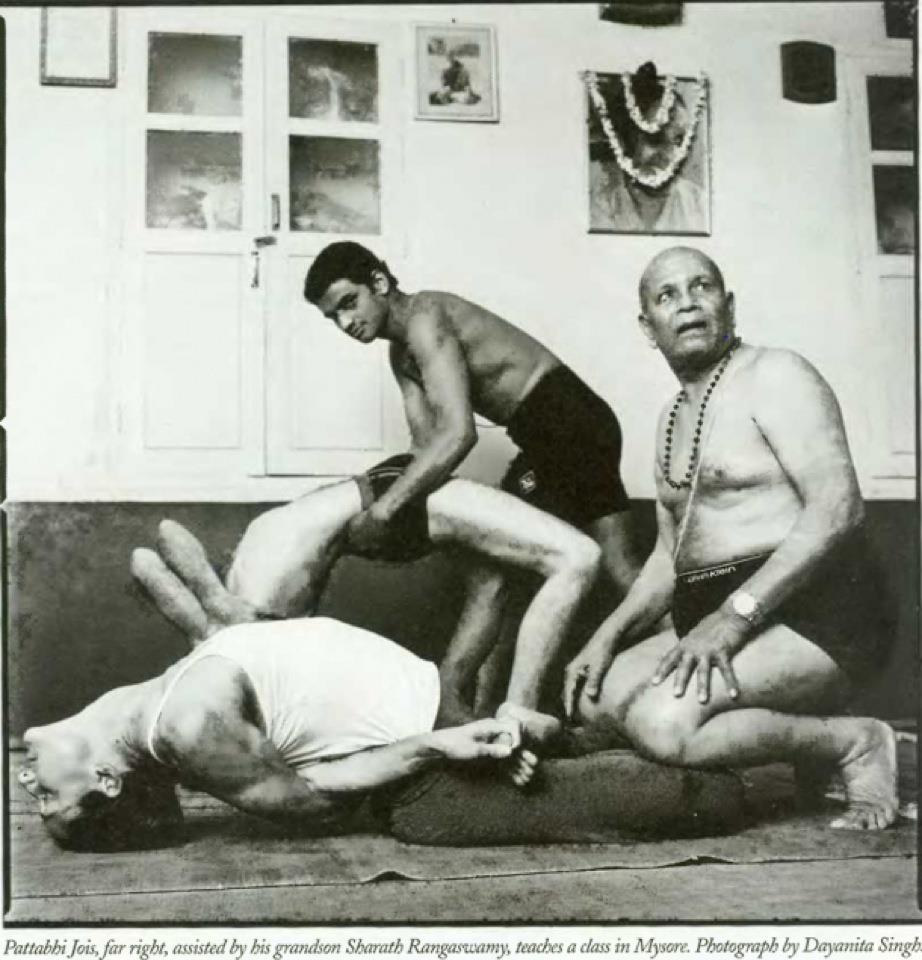 Pattabhis Jois and his grandson Sharath teach class in Mysore via  boogalooga  (if ya don't know, now you know a little about #ashtanga)