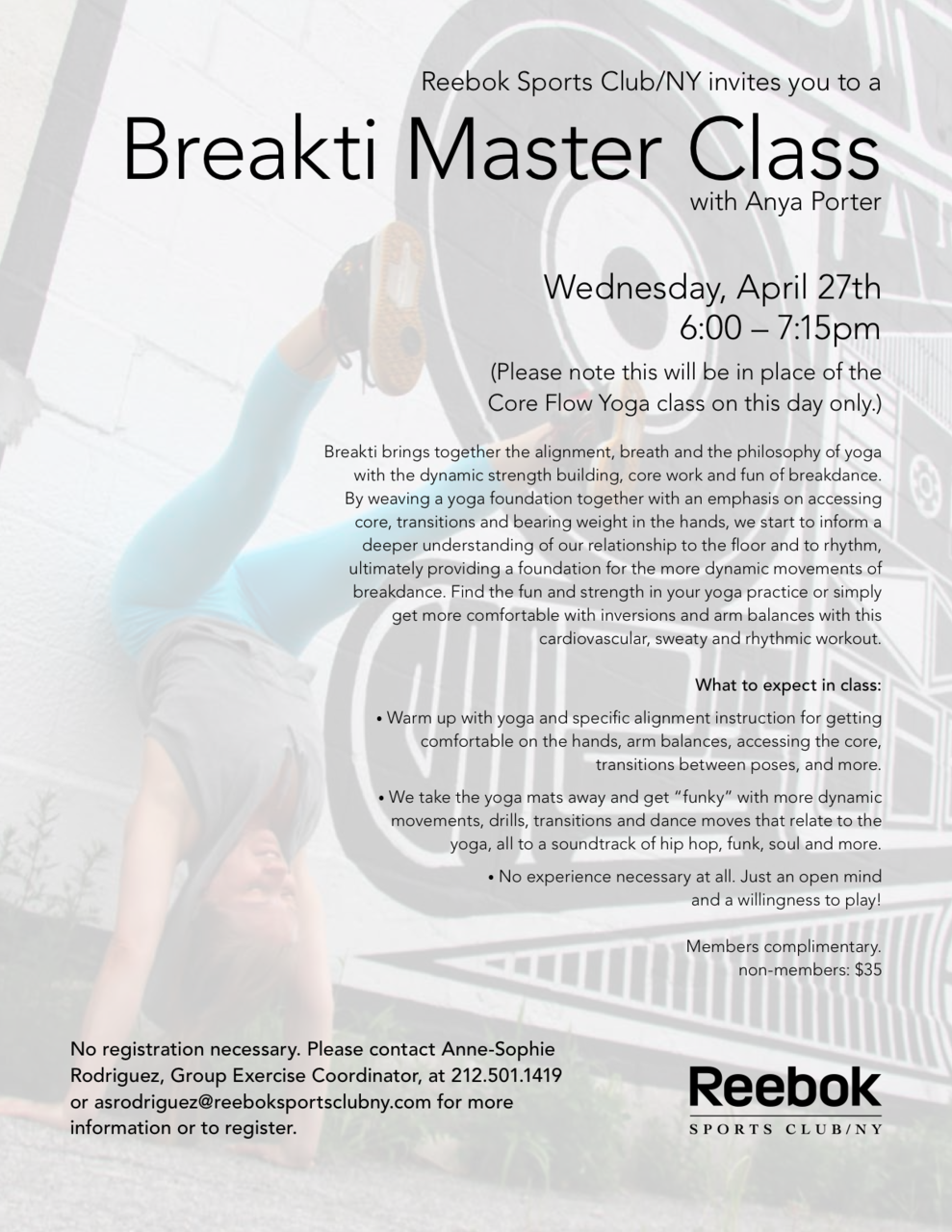 Breakti Master Class at Reebok Sports Club/NY   Contact Anne-Sophie Rodriguez at 212.501.1419 Register early, space is extremely limited!   $35