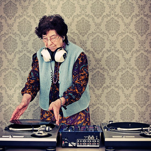 um.  yes.  DJ Granny by Bizartum on Flickr. Michal Matovcik