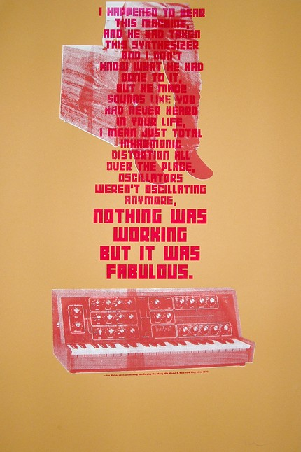 "daughtersofdilla :      lexxdigs :      Quote by Jon Weiss, upon witnessing Sun Ra play the Moog Min Model B in New York City, circa 1970:     ""I happened to hear this machine, and he had taken this synthesizer and I don't know what he had done to it, but he made sounds like you had never heard in your life. I mean just total in harmonic distortion all over the place. Oscillators weren't oscillating anymore, nothing was working but it was fabulous.""     (via  Etsy :: Fold4 :: Moog (Sun Ra) )"