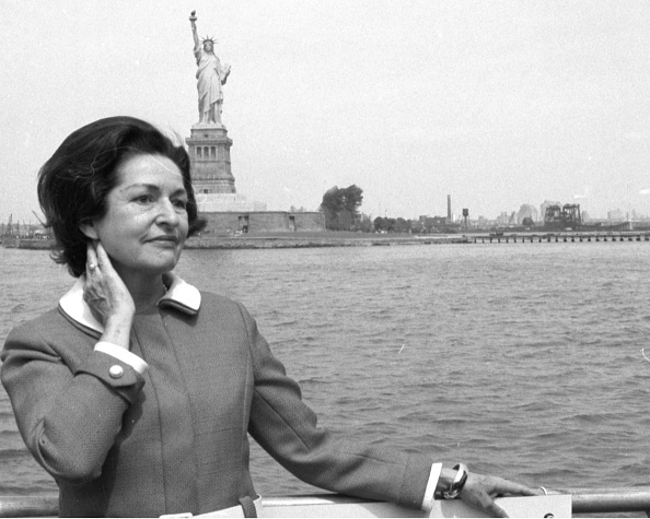 1968: Lady Bird Johnson in front of the Statue of Liberty, May 17, 1968.