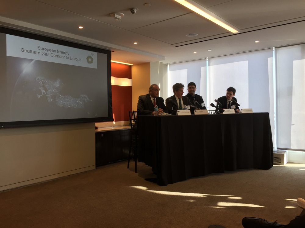 (From left to right) Enders Wimbush, Founder of the AGBC moderates a panel with Greg Saunders of BP America, Ivo Konstantinov of the Embassy of Bulgaria and Kevin Cullen of Conti / the Anaklia Consortium.