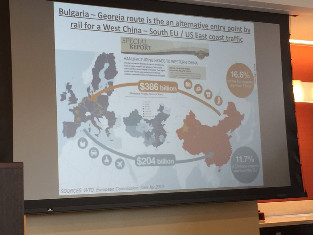 Mr. Konstantinov, Economic and Trade Counselor of the Bulgarian Embassy demonstrates potential trade flows via the New Silk Road.
