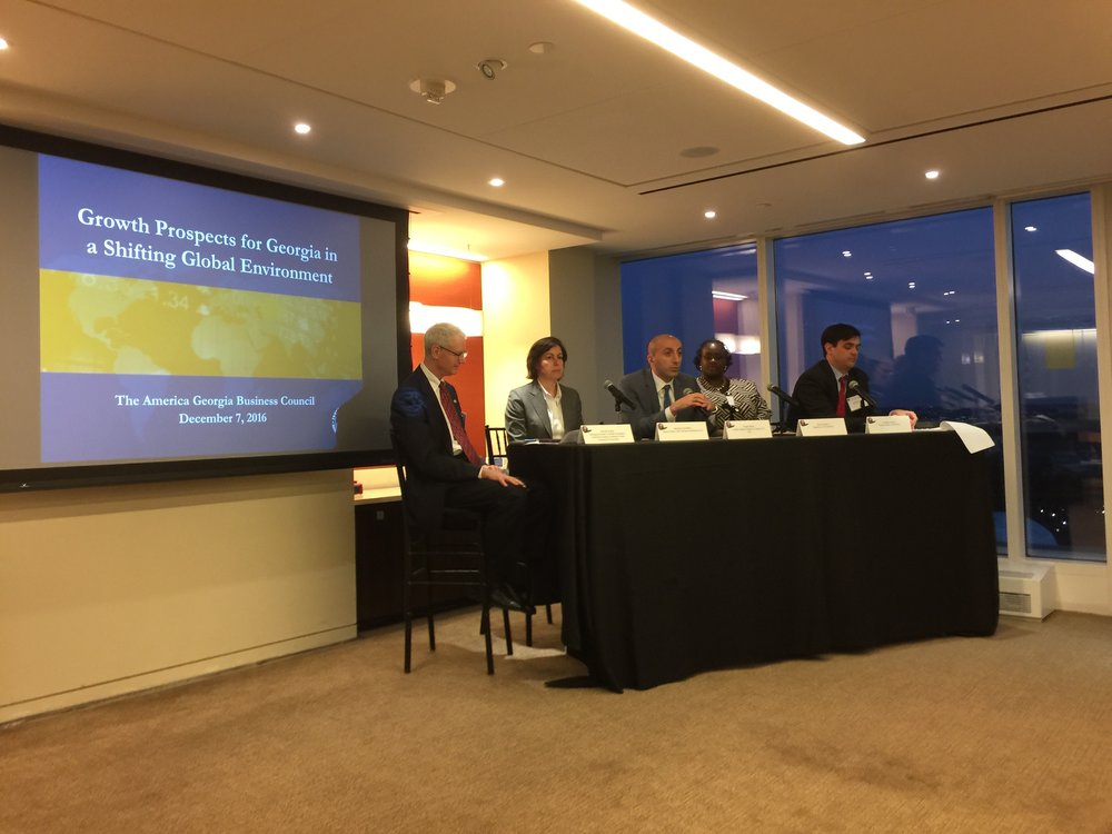 (From Left to Right) Kenneth Angell of OPIC moderates a panel with Mercedes Vera-Martin of the IMF, George Tsikolia, Chargé D'affaires of the Georgian Embassy to the USA, Danica Starks of the Department of Commerce and Jonathan Nelms of Baker & McKenzie.