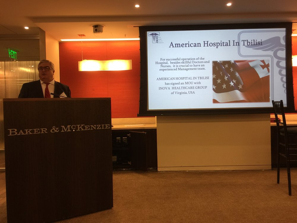 Dr. Tvildiani announces the new American Hospital Tbilisi to be operated in cooperation with Inova Health of Northern Virginia.