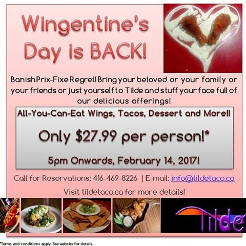 Making plans for #ValentinesDay? Ditch the cliché overpriced menu and indulge in ALL YOU CAN EAT WINGS AND TACOS! Feb 14th, book now.