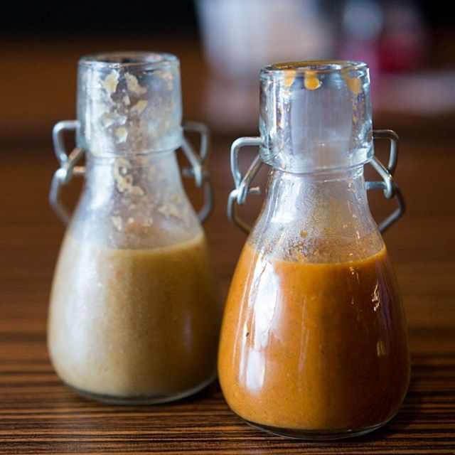 Jalapeno Lime and Habanero Garlic! 2 of our homemade hot sauces with every meal at Tilde!